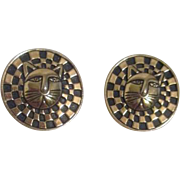 Laurel Burch Pair of Earrings for Pierced Ears with Cat Face
