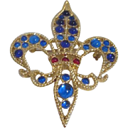 Signed Monet Gold Tone Pin/Brooch Fleur-de-Lis Blues and Red