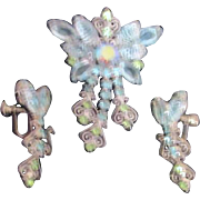 Light Blue and Green Rhinestone Set of Brooch and Screw-on Earrings