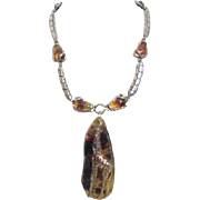 Unmarked Faux Amber Necklace with Giraffe