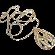 "Napier Goldtone and White Enamel Pendant on 18"" Goldtone Chain"