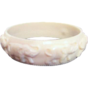 Faux (Plastic) Ivory Bracelet with Elephants Marching and Beaded Edges