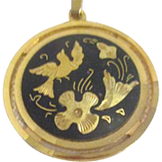 "Round Pendant Gold on Black with Detailed Bird and Flowers 16"" Goldtone Chain"