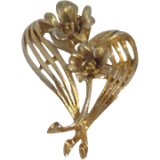 Lisner Goldtone Brooch with Roses and Ribbons
