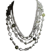 5 Strand Lightweight Metal and Bead Silvertone Necklace