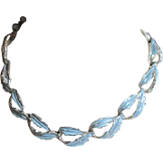 Coro Blue and Silvertone Leaf Patterned Necklace