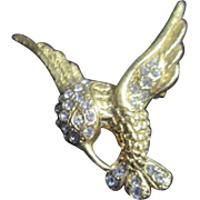 Goldtone with Rhinestones Hummingbird Brooch