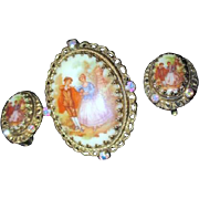 Brooch and Clip-on Earring Set West Germany