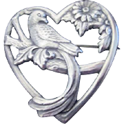Sterling Silver Truart Brooch Love Bird in Heart Brooch