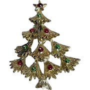 Gerry's Goldtone Christmas Tree Pin with Red and Green Ornaments