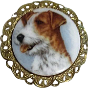 Airedale Dog Face on Porcelain with Brass Filigree Frame Brooch
