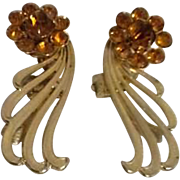 Pair of Coro Clip-on Earrings with Rhinestones