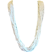 "27"" Multiple Strand White Bead Necklace"