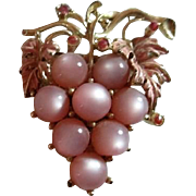 Pink Glass Bunch of Grapes Goldtone Branch with Pink Rhinestones Brooch