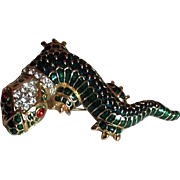 Kenneth Jay Lane Green Enamel with Goldtone Gecko Brooch