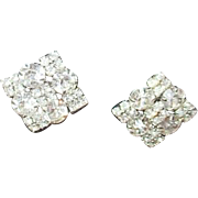 Unsigned Prong -Set Rhinestone Square Clip-on Earrings