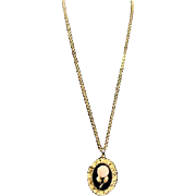 Avon Faux Choral/Onyx Pendant Necklace with Hidden Mirror in Original Presentation Box