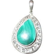 Sterling Silver Pendant with Teardrop Shaped Malachite Stone