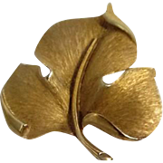 Trifari Goldtone Leaf Pin