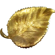 Unsigned Goldtone Leaf Pin/Brooch