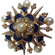 Heavenly Starburst Brooch/Pin by Karu with Rhinestones and Faux Pearls