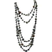 Multi-Colored Multi-Strand Crystal and Faux Pearl Beads on Silvertone Chain Necklace
