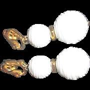 Pair of White Double Ball Trifari Clip-on Earrings