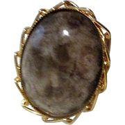 Mottled Grey-Lavender Cabochon in Goldtone Chain Frame Pin/Brooch Pendant