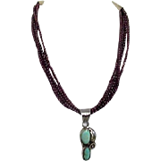 Sterling Silver Pendant with Turquoise on Garnet Bead Multi-Strand Necklace