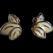 Pair of Three Leaf Cluster Clip On Earrings