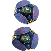 Pair of Stone and Bead Clip-On Earrings from Hong Kong