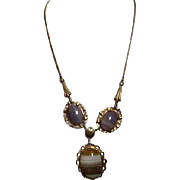 Three Stone Cabochon with Goldtone Filigree Frame Necklace