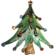 JJ Jonette Christmas Tree Pin with Multi-colored Decorations