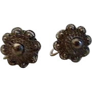 Sterling Silver Filigree Screw-on Earrings from Siam