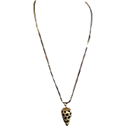 Spotted Seashell with Gold Trim on Goldtone Chain Necklace