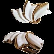 Trifari White and Goldtone Clip-On Earrings