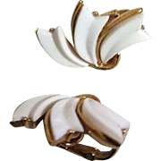 Trifari White and Goldtone Clip-On Earrings