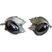 Pair of Clip-on Silvertone and Hematite Earrings