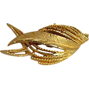 Goldtone Swirling Leaf Pin by Roma
