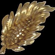 Goldtone Leaf Brooch Lisner