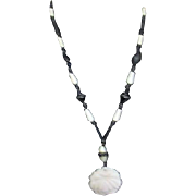 Classic Black and White Vintage Plastic Necklace with White Rose