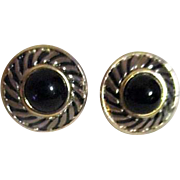 Pair of Small Round Black and Goldtone Clip-on Earrings