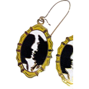 Kissing Couple Silhouette Black and White with Goldtone Frame Earrings for Pierced Ears