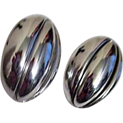 Monet Silvertone Pod Shaped Clip-on Earrings