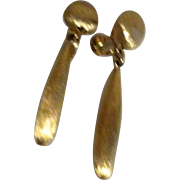 Monet Clip-on Brushed Goldtone Drop Earrings