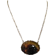 Goldtone Chain Necklace with Polished Cabochon Stone