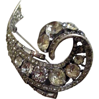 Early Crown Trifari Marked Sterling Comma Shaped Brooch with Rhinestones