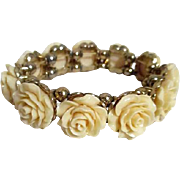 Carved Roses Faux Ivory Expandable Bracelet