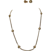 Avon Necklace and Earrings Set Goldtone Knot and Chain