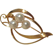 Openwork Goldtone Pin with Three Pearls